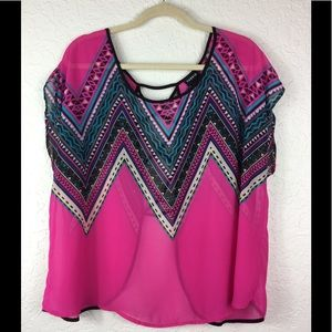 Torrid hot pink Sleeveless top lace up open back 1